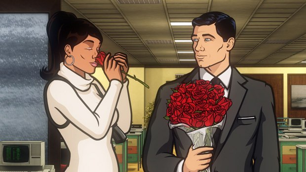 "Archer: Episode 1, Season 5 ""White Elephant."" Pictured: (L-R) Lana and Sterling.  With roses."