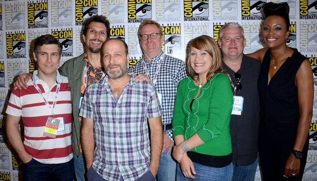 Pictured: (L-R) Chris Parnell, Lucky Yates, H. Jon Benjamin, Matt Thompson,  Amber Nash, Adam Reed and Aisha Tyler at the FX press room on Day 3 of 2013 Comic-Con International. (Photo by Tonya Wise/Invision for FX/AP Images).