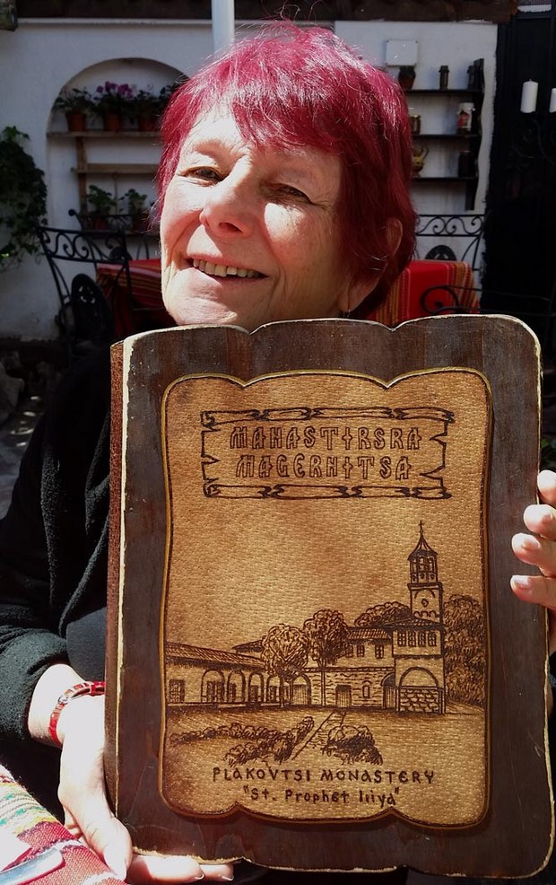 Wooden menu of the Magernitsa Monastery Restaurant.