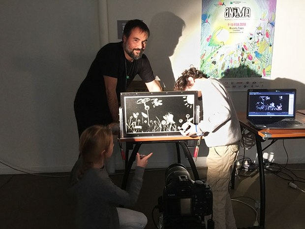 Alexander Noyer and young animators experiment with Alexander's portable pinscreen