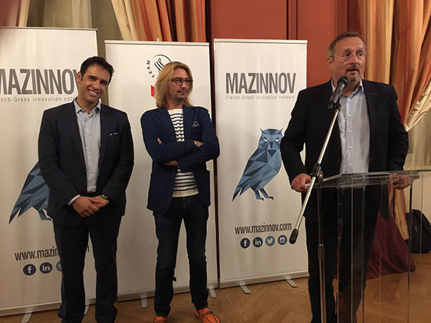 Vassilis Karamitsanis, Olivier Dovergne from Mazzinnov, and Christophe Chantepy, French Ambassador to Greece