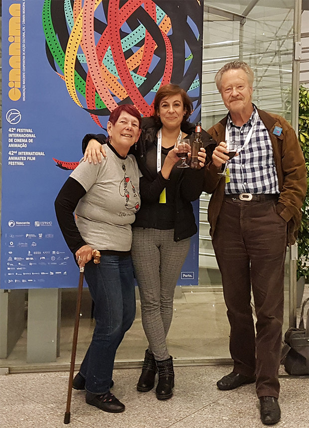 The Student Jury (left to right) Nancy, Irina Calado, and Willem Thijssen celebrating our final jury decisions