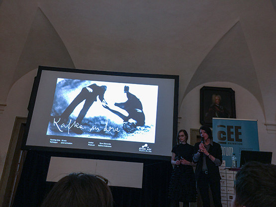 Sabine Andersone and Zane Oborenko pitching Kafka in Love