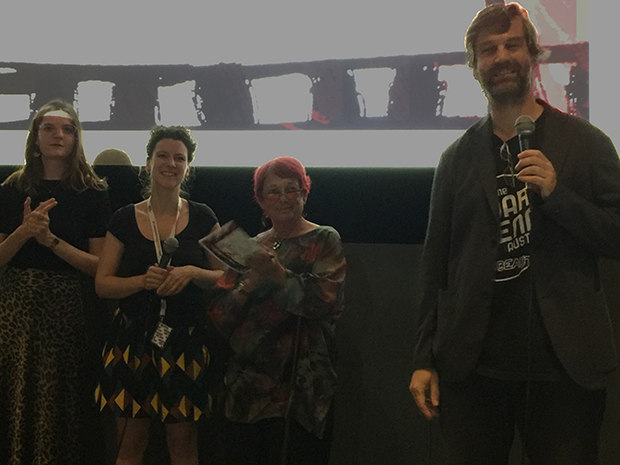 The pitching jury, left to right, Laure Goasguen, Marie Ketzscher, and me with Holger Lang