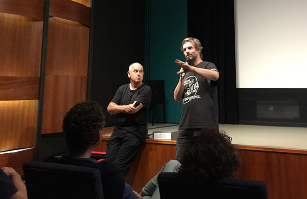 Peter Putz being introduced by Under the Radar founder Holder Lang at the Blickle Kino