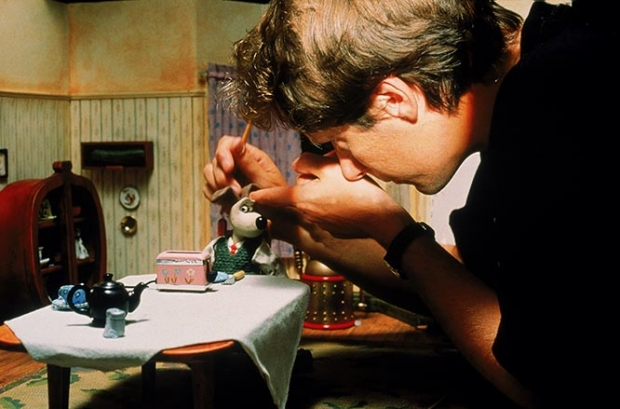 Nick Park animating on the set - Photo courtesy Aardman Animation