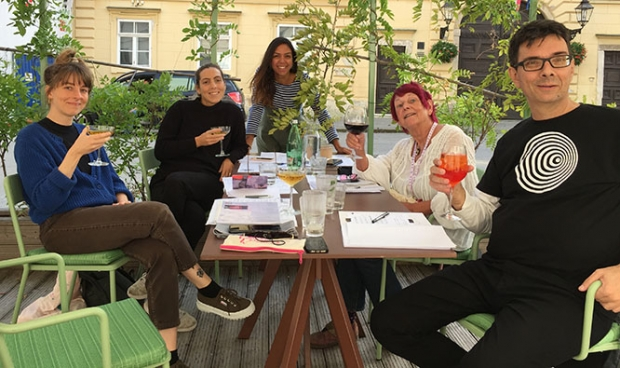 The Grand Competition Jury in final deliberation left to right Reka Bucsi, Martina Scarpelli, Clemence Bragard, Nancy and Vladislav Knezevic
