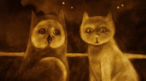 búho y gato