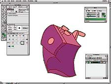 Commotion's Rotospline tool can be used to create mattes as well as move with true motion blur. From Sharpie Gets the Point. © 1999 Chris Sapyta at Sweet Pattootie Animation