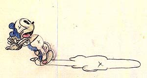 An animation drawing by Robert McKimson featuring Binko the Bear Cub from Arabian Nightmare.