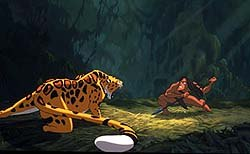 Tarzan proves himself by killing a leopard. © Burroughs and Disney, Tarzan® Edgar Rice Burroughs, Inc. All rights reserved.