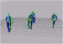 A group of Bipeds programmed to avoid the sphere.