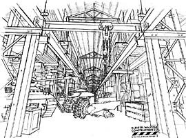 Concept drawing for basic set design and scene inventory by art director Kent Mikalsen. © Universal Studios Escape; image courtesy of Kleiser-Walczak.