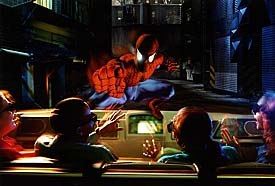 Spider-Man appears to sit on the hood of the Scoop vehicle. Image courtesy of Universal Studios Escape.