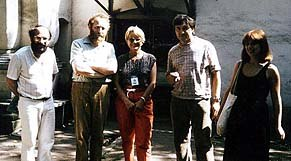 July 1983 in front of Moscow's Animation Studio. From left to right: Jean-Luc Xiberras, Yuri Norstein, Louisette Neil, Norstein's cameraman, Marie-Catherine Marchetti. Courtesy of La Sept/Arte.