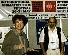 Marie-Noëlle Provent, Jean-Luc Xiberras and Georges Lacroix at NATPE 1997. © Animation World Network.