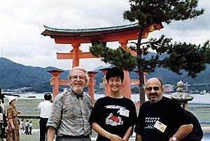 Hiroshima 1996. From left to right: Hubert Tison, Michiru Samura (from the Hiroshima staff) and Jean-Luc Xiberras. Courtesy of Hubert Tison.
