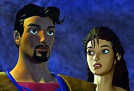 Brendan Fraser and Jennifer Hale provide the voices of Sinbad and Princess Serena. © Improvision.