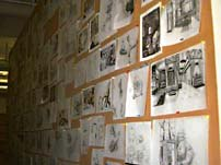 Concept drawings and preliminary designs are tacked on the wall during development. © LucasArts.