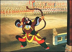 The Conceited General (1968) draws its style from the traditional Chinese arts, including the Peking Opera. Photo: Shanghai Animation Film Studio.