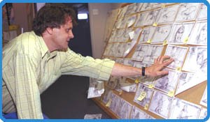 Director Chris Wedge studies the storyboard for Ice Age during production. Photo: Barbara Nitke.