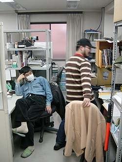 Animators Ryuji Mitsumoto (left) and Kazunori Suga.