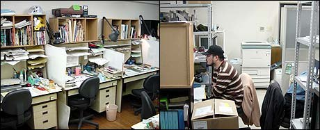 On the left, a row of animators' desks. Back to Back: working in very close proximity.