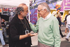 Executive producer Avi Arad of Marvel Comics (left) talks to Stan Lee, creator of Spider-Man on the movie set. Photo credit: Zade Rosenthal. © 2002 Columbia Pictures.