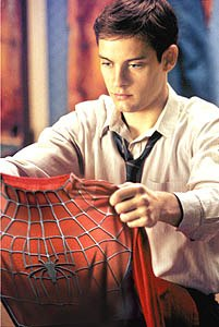 Peter Parker (Tobey Maguire) improves upon his first attempt at costume-making.