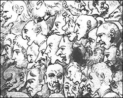 The art of the caricature first appeared in Agostino Carracci's