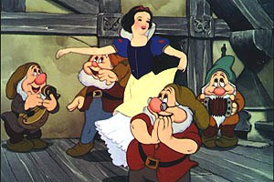 A rotoscoped Snow White appears less interesting visually than her dwarf friends. © Disney Enterprises, Inc. All rights reserved.
