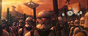 The photo-realistic backdrops in the Clone War were all created digitally. © Lucasfilm Ltd. & TM. All rights reserved. Digital work by Industrial Light & Magic.