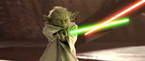 Making Yoda a master swordsman was a challenge for the animators.