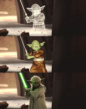 The digital progression of Yoda  from wireframe, to lo-resolution render to final composite.