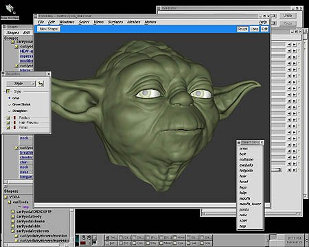 Getting Yoda's facial expression was a priority for the animators. Here's a screen grab from the Linux Platform showing ILM's proprietary facial animation software.