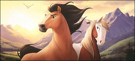 Without a spoken word, Spirit and Rain from Spirit: Stallion of the Cimarron (2002), kept audiences captivated. © DreamWorks SKG.