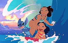 Here comes the happy family now  Lilo, Nani and Stitch. All images © Disney Enterprises, Inc. All rights reserved.