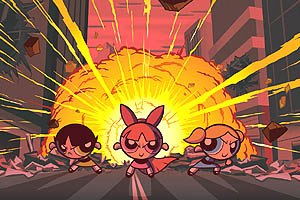 The Powerpuff Girls were to pose a triple threat at the box office but were mysteriously underviewed. © Cartoon Network; Distributed by Warner Bros. Pictures.