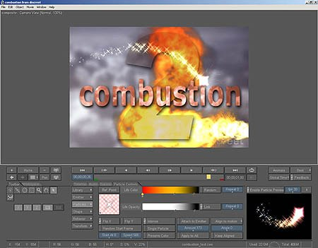 Particles interface, an all access pass to creating realistic particle-based effects. Image courtesy of discreet.