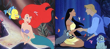 The AFA determined that there were hidden sexual images in The Little Mermaid (left) and Pocahontas. © Disney.