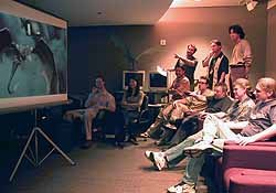 The Secret Lab animation team faced a huge challenge in making the dragons look like real animals that could exist on Earth. Co-visual effects supervisor Dan DeLeeuw is sitting far right.