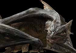 An early version of the dragon with no scales. The animation team had to revise a hair program to create the kind of realistic scales needed.
