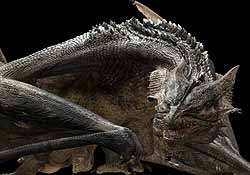 The dragon is seen here with its scales. The revised hair program allowed the animation team to change the color of each scale so that movement wouldn't distort the skin surface.