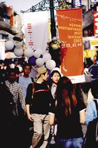 Throngs of attendees flood the streets of Jeonju, host city of the self-titled film festival. © JIFF 2002.