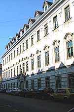 The famous Zagreb Film building. The gabled windows at the top feed light to the animation staff.