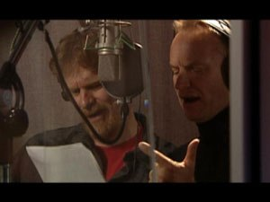 Roger Allers and Sting working on Kingdom of the Sun, which would become Kingdom in the Sun and then finally, after a long painful process, The Emperor's New Groove. © Xingu Films. All stills courtesy of Disney Enterprises I
