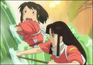 Working class heroes: Chihiro (left) and Lin, a no-nonsense bathhouse girl, clean up after a foul smelling spirit.