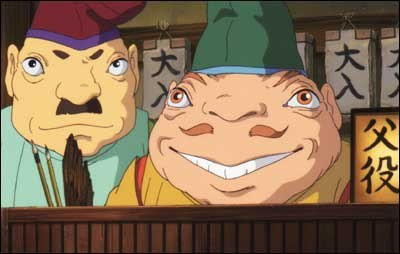 The assistant manager (left) and frog foreman keep a watchful eye at the bathhouse. Spirited Away is one of the best movies about entering the workforce.