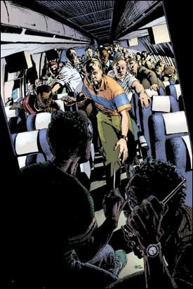 Comic book artist Igor Kordey's chilling interpretation of the events inside Flight #93 appeared in Heroes.