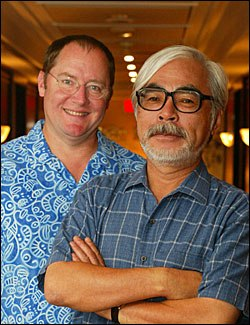 A meeting between John Lasseter (left) and Hayao Miyazaki (seen here at the recent Toronto Film Festival) 20 years ago led to the U.S. release of Spirited Away this year. Photo credit: Eric Charbonneau, Berliner Studios.